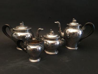 Service à thé café en argent, anses en bois...