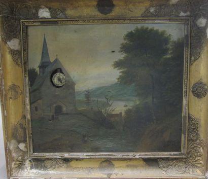 Ecole française du XIXème siècle  Tableau-horloge...
