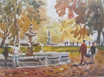 Pascal HAYOT (1958)  Parc animé  Aquarelle,...
