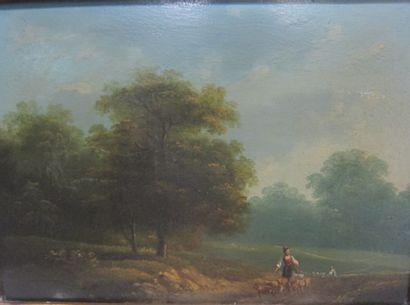 Ecole XIXème siècle  -Promenade dans un paysage...