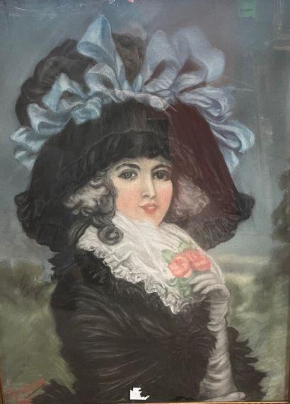 Ecole Française, vers 1900  Jeune femme au...