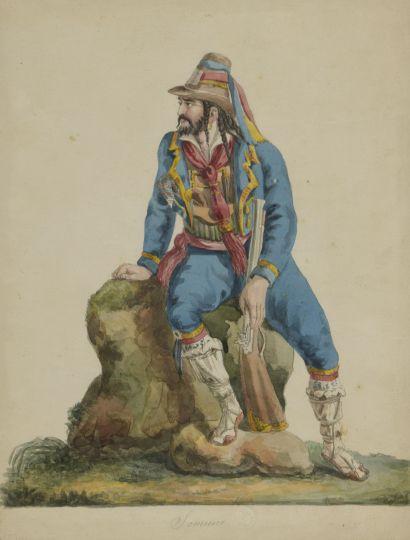 FERRARI (actif au XIXe siècle)  Ensemble de huit dessins de costumes italiens :...