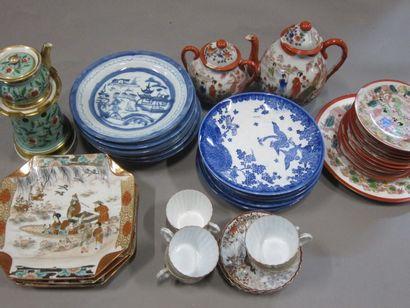 Partie de service à thé en porcelaine, Japon moderne et vaisselle diverse.