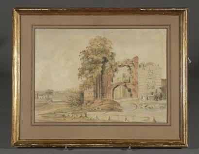École ANGLAISE du début du XIXe siècle [3]  -Villa italienne en bordure de cyprès...