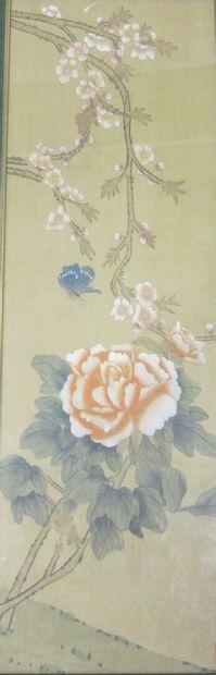 Suite de quatre petites peintures chinoises...