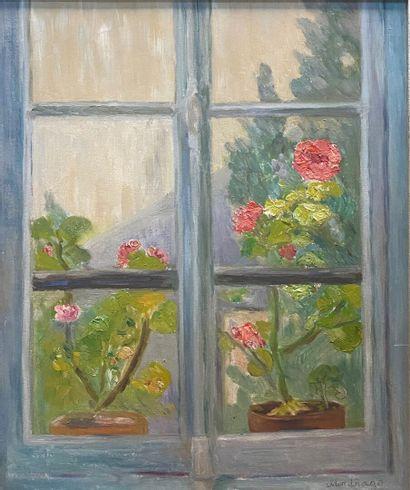MADHAGO  Jardin de la fenêtre  Huile sur...