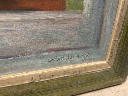 MADHAGO  Jardin de la fenêtre  Huile sur panneau, signée en bas à droite  46 x 38...