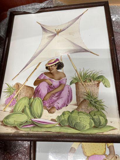 3 mannettes de bibelots divers, chandeliers, vase, plaque céramique etc