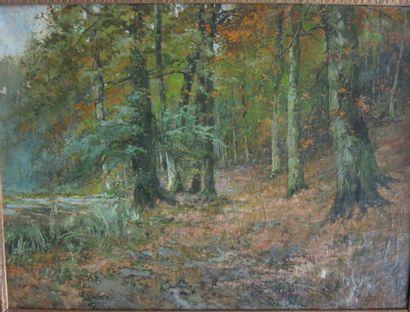 Léon HUYGENS (1876-1918)  Allée en forêt...