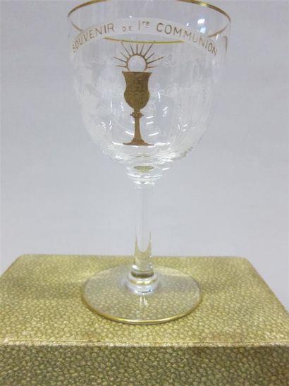 BACCARAT  Coupe de communion en cristal blanc...