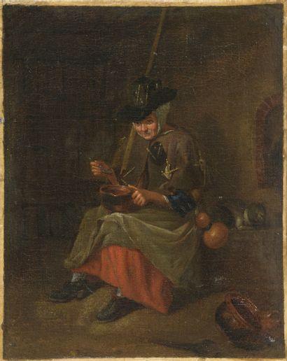 Ecole flamande du XVIIIème siècle.  Vieille...