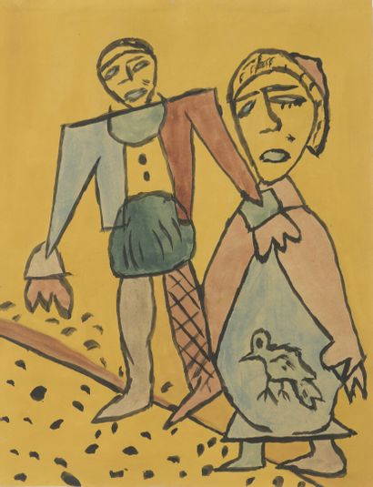 Gaston CHAISSAC (1910-1964)  Homme et femme...