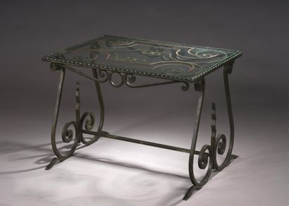 FRENCH WORK 1940  Wrought iron coffee table...