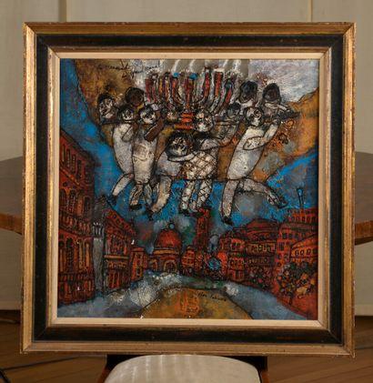 Théo TOBIASSE (1927-2012)  Ménorah du Grand Canal  Huile sur toile signée en bas...