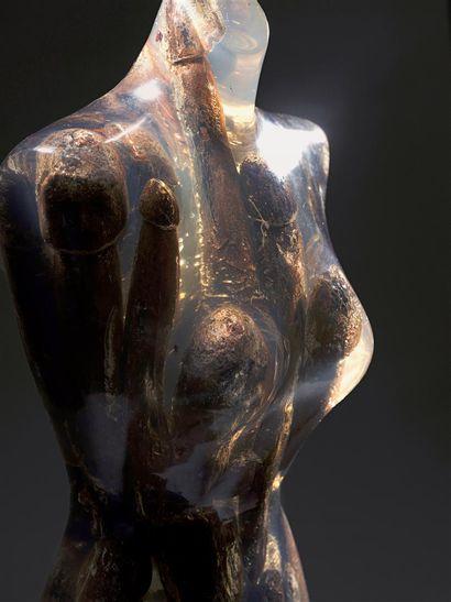 Fernandez ARMAN (1928-2005)  Satisfaite, 1996  Bois et plexiglas.  85 x 32 x 29...