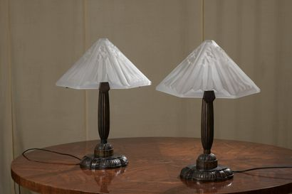 FRENCH WORK  Pair of bronze table lamps with...