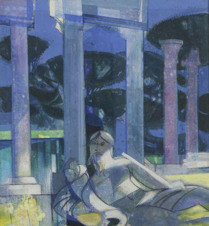 Camille HILLAIRE  Jeune femme allongée dans...