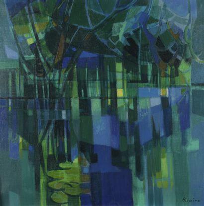 Camille HILAIRE (1916-2004)  Paysage à l'étang...