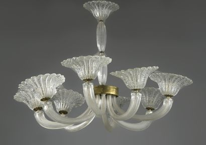 MURANO  Chandelier with eight white glass...