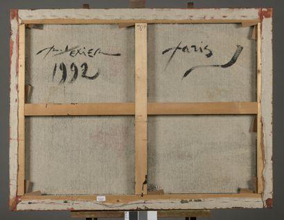 Richar TEXIER (né en 1955)  Composition abstraite, 1992  Huile sur toile, signé,...