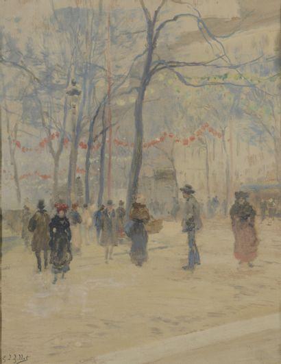 Louis Eugène GILLOT (1868-1925)  Le jardin...