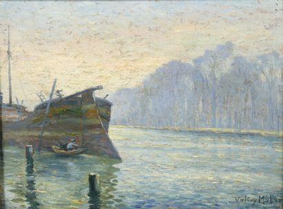 Valery MÜLLER (1859-1916)  Batelier examinant...