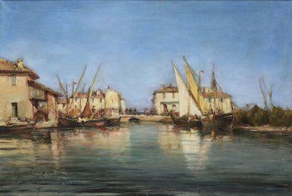 Émile GODCHAUX (1860-1938)  Martigues  Huile...