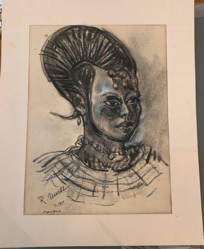 Roger R. NIVELT (1899-1962)  Femme de Ouahigouya (Burkina Faso), avril 1925  Fusain...