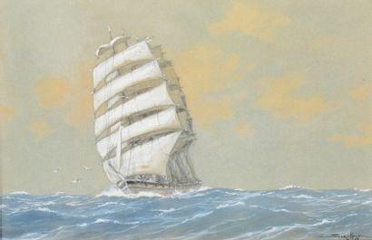 SANDY-HOOK (1879-1960)  Le Cedartank par vent arrière le cacatois amené  Aquarelle...