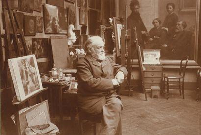 ANONYME  Fantin Latour dans son atelier, circa 1901-1904  Épreuve argentique montée...