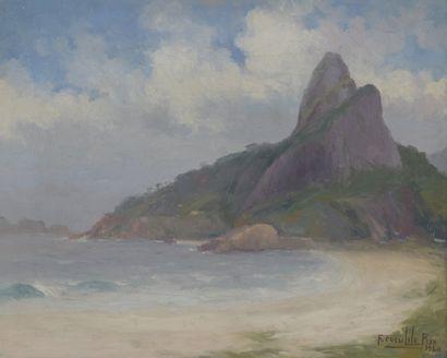 Francisco COCULILO (1895-1978)  Baie de Rio, 1924  Huile sur toile, signée, située...