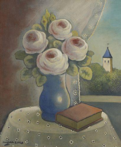 Madeleine LUKA (1894-1989)  Roses et livre...