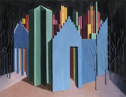 Andrée POLLIER (1915-2009)  Le Théâtre bleu  Huile sur toile, signée et datée 60...