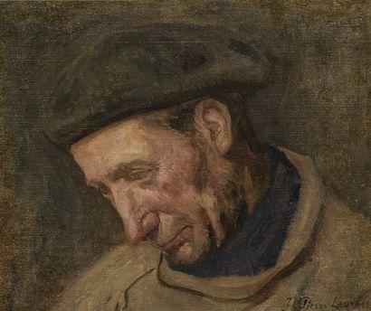 Jean-Pierre LAURENS (1875-1932)  Tête de pêcheur  Huile sur toile, signée en bas...