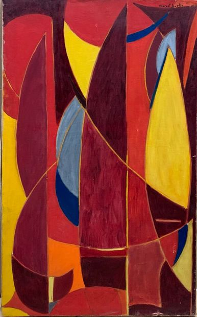 Marcel BURTIN (1902-1979)  Les voiles rouges  Huile sur toile signée en haut à droite,...