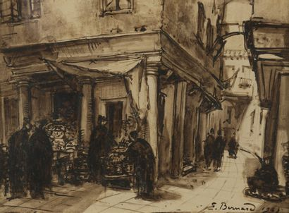 Émile Henri BERNARD (1868-1941)  Rue animée...