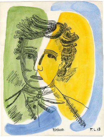 Fernand LÉGER  (Argentan, 1881 - Gif-sur-Yvette, 1955)  Rimbaud  Gouache sur papier....