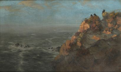 Alfred BACHMANN (1880-1964)  Corbeaux regardant la mer, Bretagne  Huile sur toile,...