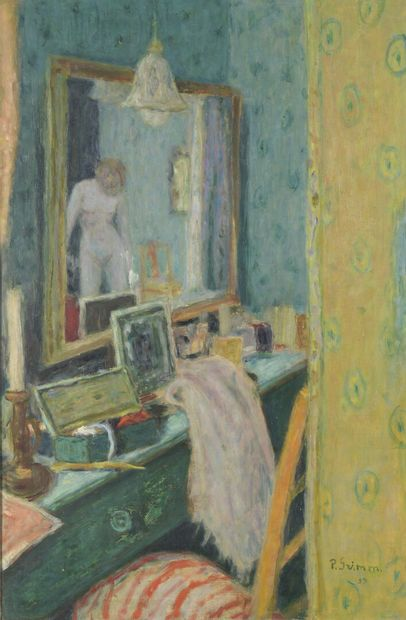 Pierre GRIMM (1898-1979)  Nu dans le miroir  Huile sur panneau, signée et datée...