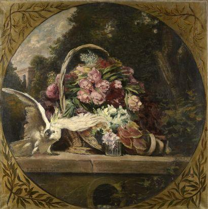 Robert EUSTACHE (XIXe-XXe siècle)  Cacatoès et pivoines dans un panier, sur fond...