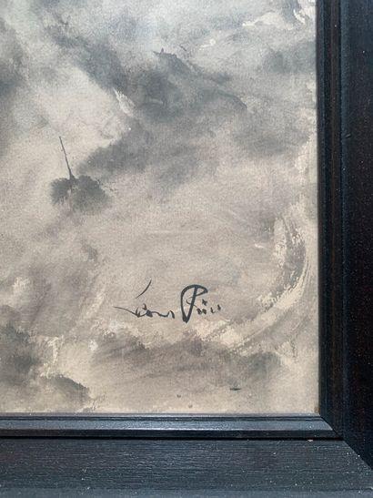 Leonor FINI (1907-1996)  Le Chat  Lavis d'encre sur papier, signé en bas à droite....