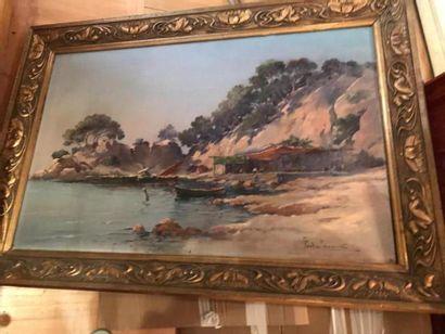École MODERNE  Tente sur la plage  Huile sur toile, signée.  45 x 65 cm