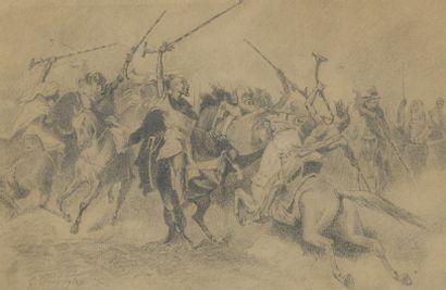 Georges WASHINGTON (1827-1910)  La Fantasia  Mine de plomb, signée en bas à gauche....
