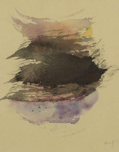 René LAUBIÈS (1924-2006)  Composition  Aquarelle...