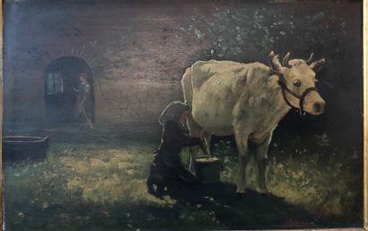 I. RABOUNOWICZ  Vache à la traîte  Huile...