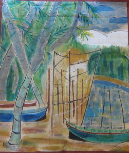 Marcel BASLER (1917)  Barques sur la plage...