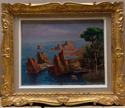 G. LEMONIER (XXe siècle)  Bord de mer  Huile...
