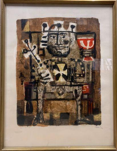 Antoni CLAVÉ (1913-2005)  Le Roi Boit  Lithographie...