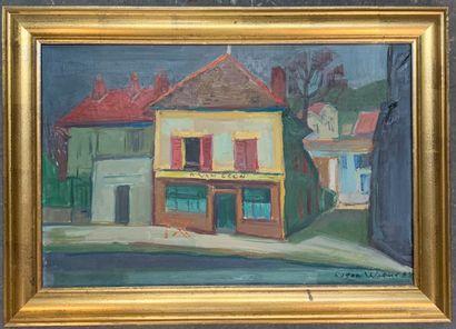 Roger WORMS (1907-1980)  Le Café Van Gogh...