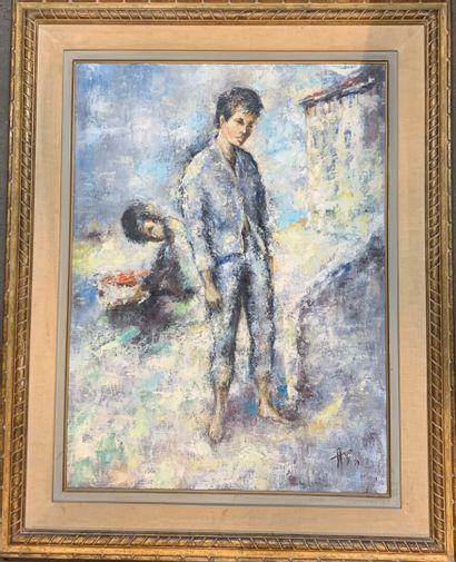 Albert LOCCA (1895-1966)  Arlequin  Huile...